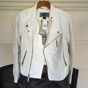 Green with Envy Off White Moto Jacket NWT